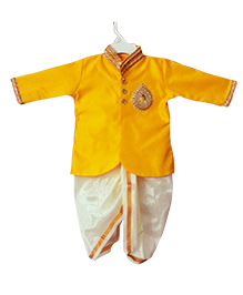 Swini's Baby Wardrobe Kurtha & Dhoti - Yellow& Pattu