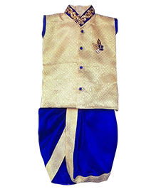Swini's Baby Wardrobe Stylish Kurtha & Dhoti - Cream & Blue