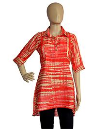 Gewende Quarter Sleeves Printed Maternity Top - Red