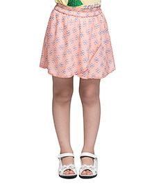 Oxolloxo A Line Printed Skirt - Peach