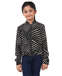 Oxolloxo Full Sleeves Monochrome Polka Dots Print Jacket - Black And Off White