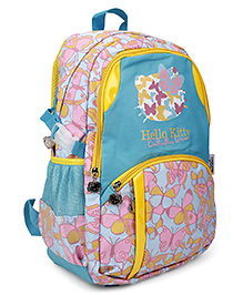 Hello Kitty School Bag Butterfly Print Sea Green & Yellow - 19 Inches