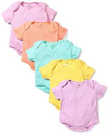 Babyhug Short Sleeves Dotted Onesies Multicolour - Pack of 5
