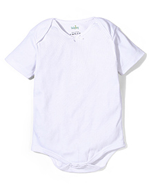 Babyhug Envelope Neck Half Sleeves Plain Solid Color Onesies - White