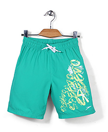 Speedo Swimming Trunks With Brand Print - Green