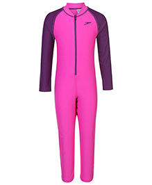 Speedo Full Sleeves Legged Swimsuit - Pink Purple