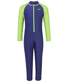 Speedo Full Sleeves Legged Swimsuit - Navy Green