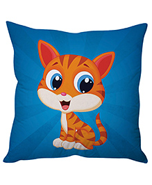 Stybuzz Happy Kitty Cushion Cover - Blue And Orange