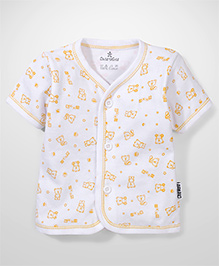 Child World Half Sleeves Vest Bear Print - Yellow & White