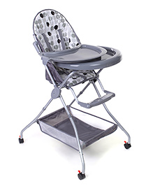 High Chair With Storage Basket - Grey