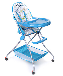 High Chair With Storage Basket - Light Blue