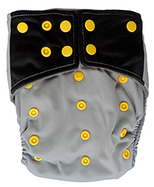 ChuddyBuddy All In One Cloth Diaper With Insert Stitched Inside  Green& Black Print - Grey & Black