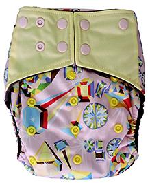 ChuddyBuddy All In One Cloth Diaper With Insert Stitched Inside Precious Gems Print - Multicolour