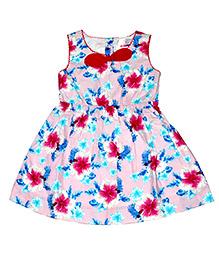 Young Birds Flower Print Dress - Pink