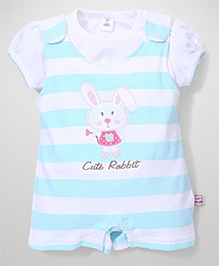 ToffyHouse Stripe Dungaree Style Romper With Top Rabbit Embroidery - White Sea Green