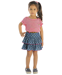 My Lil'Berry Denim Layered Skirt Heart Print  Girls - Blue