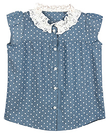 My Lil' Berry Sleeveless Denim Top Polka Dots Print - Blue