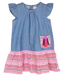 My Lil' Berry Short Sleeve Frock Multi Print - Blue and Pink