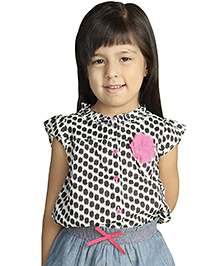 My Lil' Berry Sleeveless Top With Lace Applique - Black and White