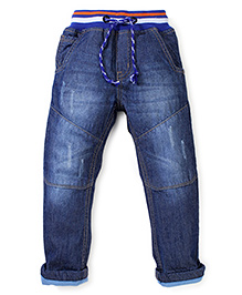 Babyhug Full Length Jeans With Drawstring - Blue