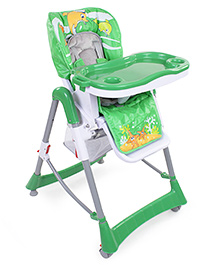 Fish Print High Chair With Storage Basket - Green