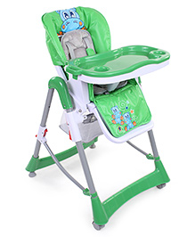 Star Print High Chair With Storage Basket - Green