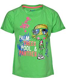 Pepito Half Sleeves Top Palm Tree & Pool Parties Print - Green