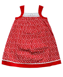 Young Birds Lace Neck Sleeveless Dress - Red
