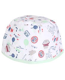 Cucumber Round Cap Printed - White