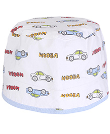 Cucumber Round Cap Car And Vroom Print - White & Blue