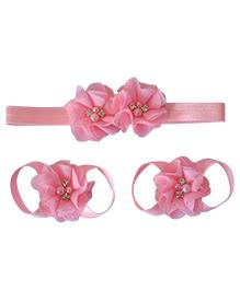 Little Miss Cuttie Headband & Barefoot Sandals - Pink