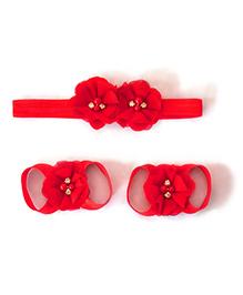 Little Miss Cuttie Headband & Barefoot Sandals - Red