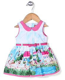Yellow Duck Sleeveless Frock House Print - Blue and Pink