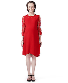 House Of Napius Radiation Safe Comfortable Long Sleeves Maternity Dress - Red