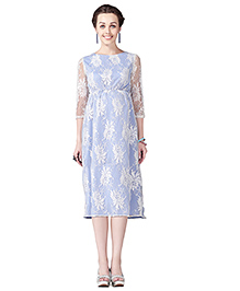 House Of Napius Radiation Safe Comfortable Maternity Lace Dress With French Crepe - White & Blue