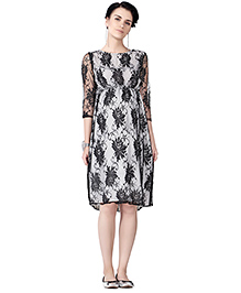 House Of Napius Radiation Safe Comfortable Maternity Lace Dress With French Crepe - White & Black
