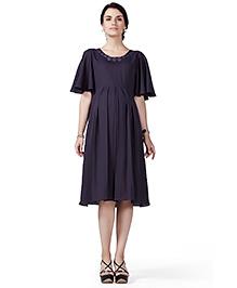 House Of Napius Radiation Safe Comfortable Half Sleeves Maternity Dress - Purple