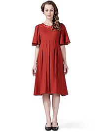 House Of Napius Radiation Safe Comfortable Half Sleeves Maternity Dress - Rust