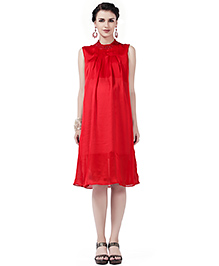 House Of Napius Radiation Safe Comfortable Sleeveless Maternity Dress - Red