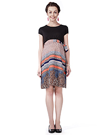 House Of Napius Radiation Safe Short Sleeves Maternity Dress Printed - Black & Coral