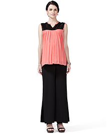 House Of Napius Sleeveless Maternity Radiation Safe Sleeveless Maternity Top And Plazo Pants - Coral & Black