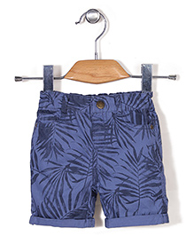 Fox Baby All Over Print Turn-Up Style Shorts - Blue