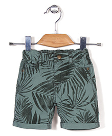 Fox Baby All Over Print Turn-Up Style Shorts - Green