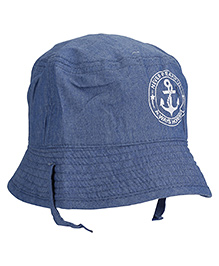 Fox Baby Never Fearful Print Cap - Blue