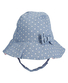 Fox Baby Dotted Bucket Cap With String - Blue