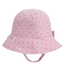 Fox Baby Dotted Bucket Cap With String - Pink