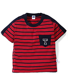 Teddy Half Sleeves Stripe T-Shirt - Red Navy
