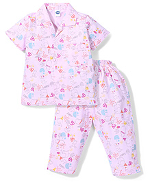 Teddy Half Sleeves Night Suit Animal Print - Light Pink