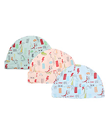 Cucumber Caps Printed Pack Of 3 - Sky Blue Peach Aqua