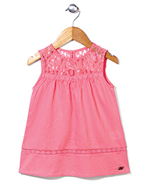 Gini & Jony Sleeveless Top Lace Detailing - Pink